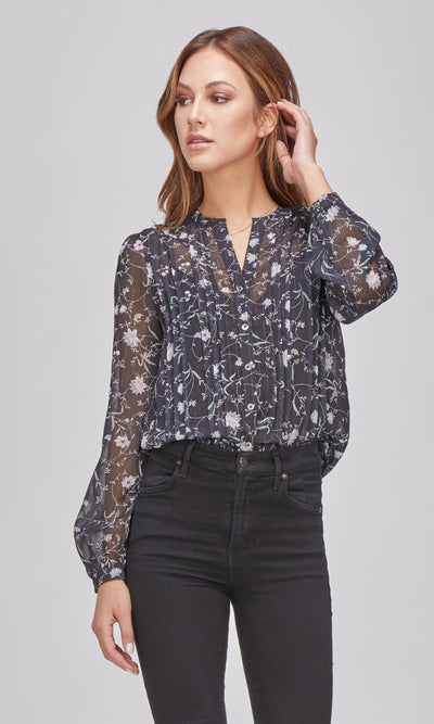 women's navy floral long sleeve blouse