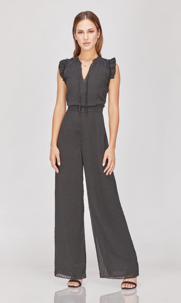 black swiss dot jumpsuit