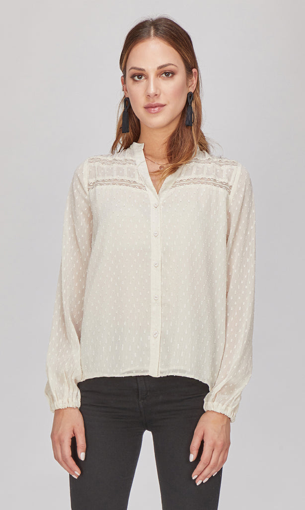 Emery Swiss Dot Button-Up Blouse