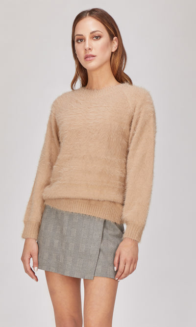 Beige knit pullover sweater