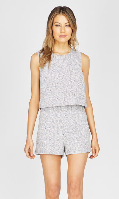 grey textured romper