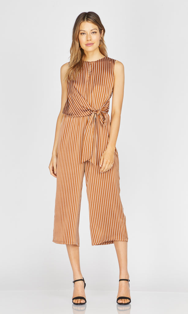 striped toffee wrap-tie jumpsuit