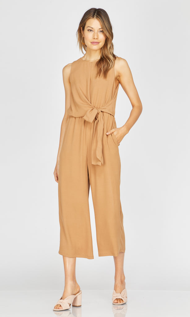 yellow wrap top jumpsuit