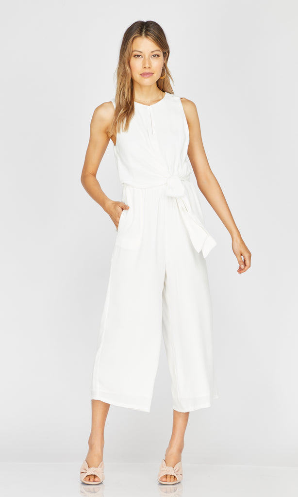 white wrap tie jumpsuit