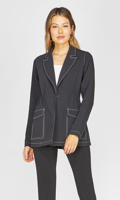 Isa Contrast Stitch Jacket-final sale