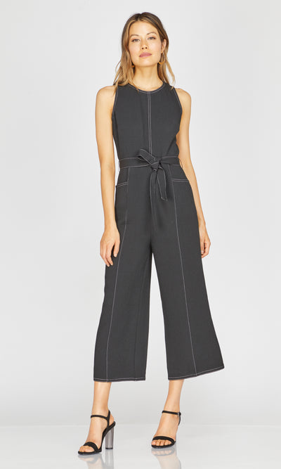 Black Contrast Stitching culotte Jumpsuit for summer