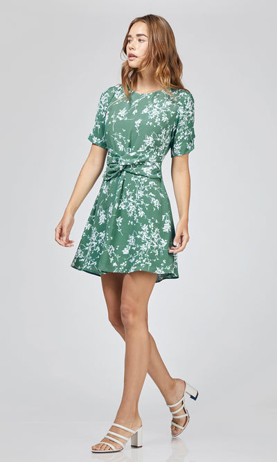 white green flower dress