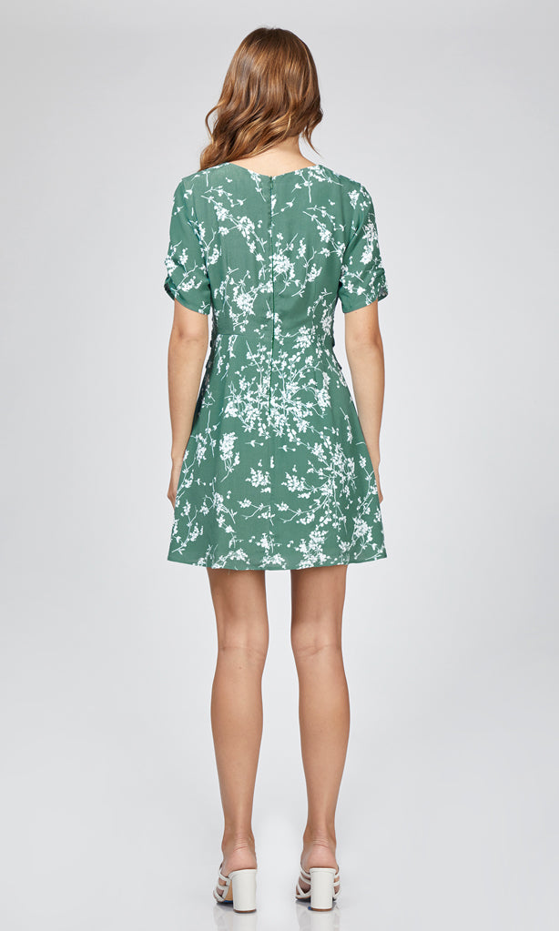 green floral short sleeve dress