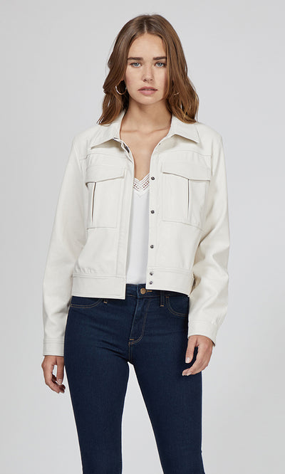 women's white vegan leather jacket