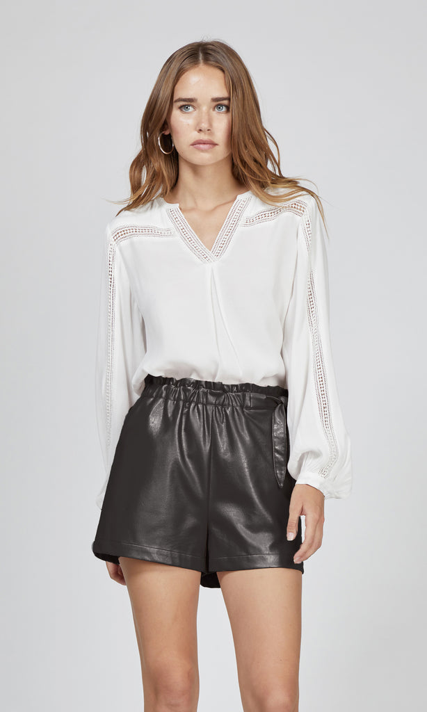 black vegan leather waist tie shorts