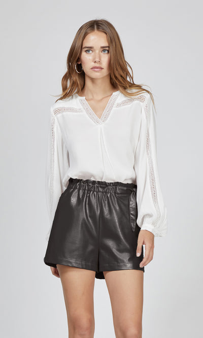 Gwen Vegan Leather Waist-Tie Shorts