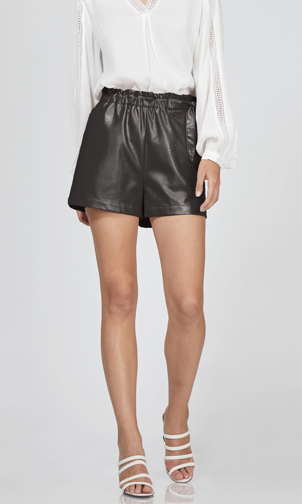 vegan leather tie waist shorts