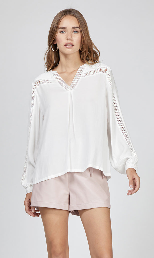 white split neck long sleeve shirt