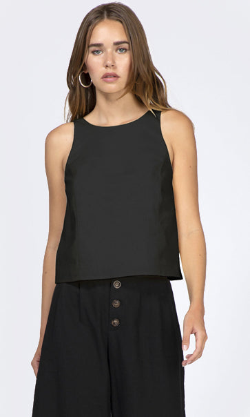 women's Black linen button back tank top