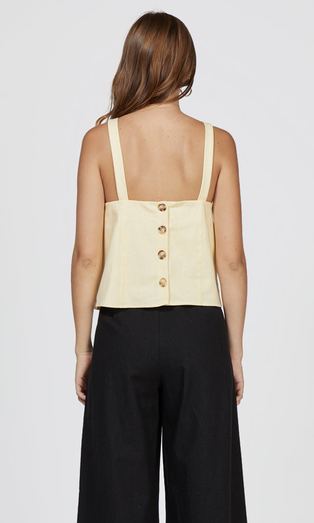 womens button back linen summer tank top