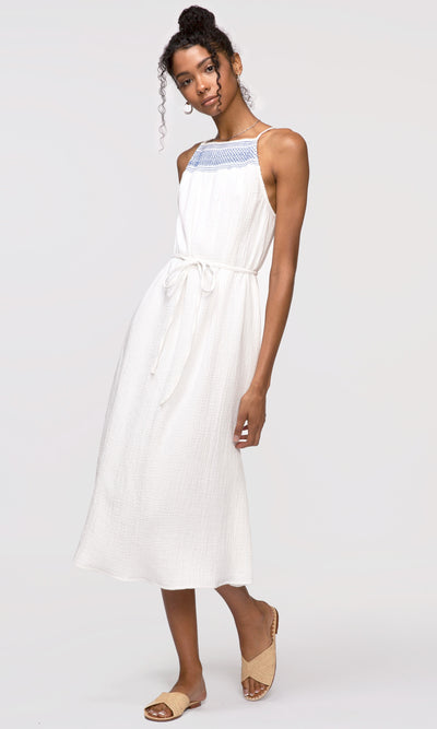 white smock neck tie-waist dress