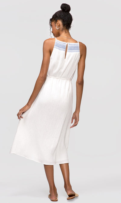 smock neck white midi dress