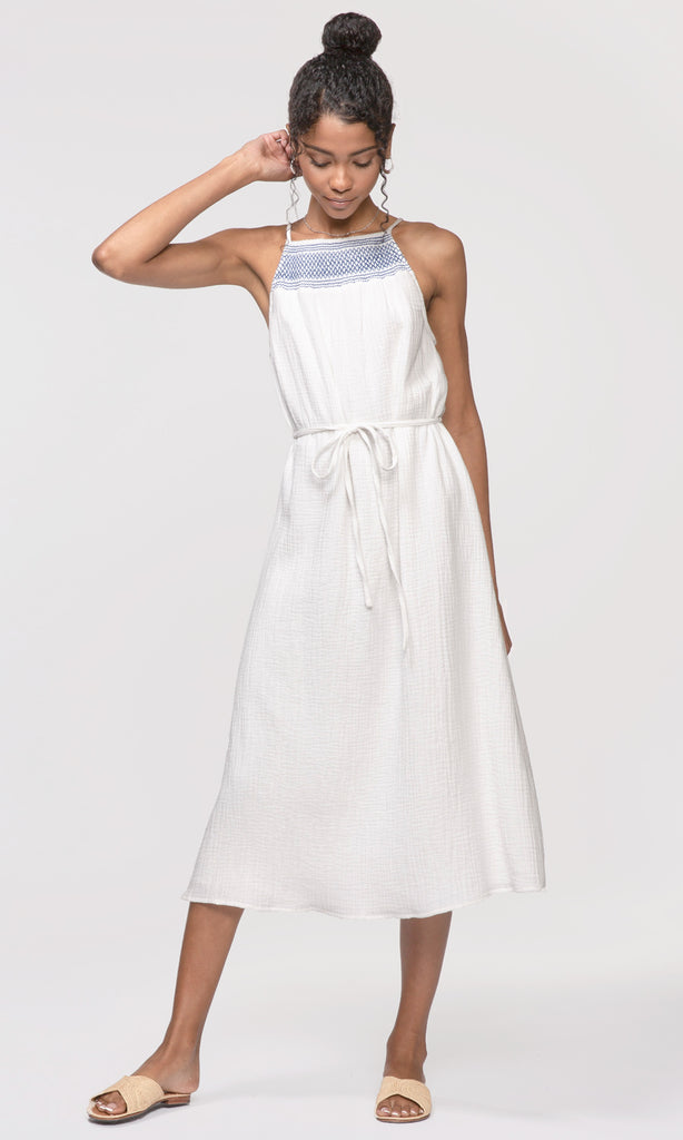 Clover Smock Neck Tie-Waist Dress