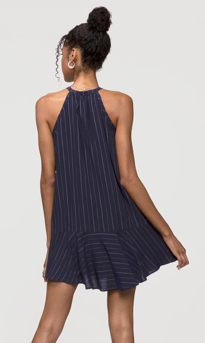 Cassidy Pinstripe Split-Neck Dress
