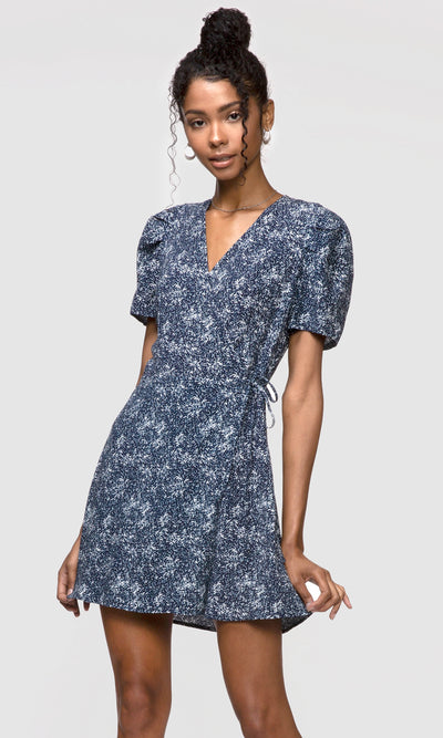 blue pouf sleeve print dress