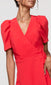 women's red wrap dress
