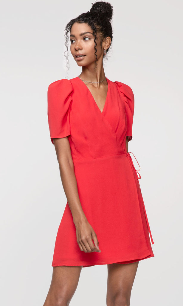 red pouf sleeve wrap dress