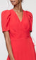 women's red pouf sleeve wrap dress