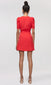 women's red pouf sleeve dress