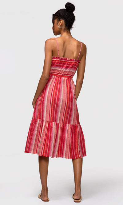 red strapless midi dress