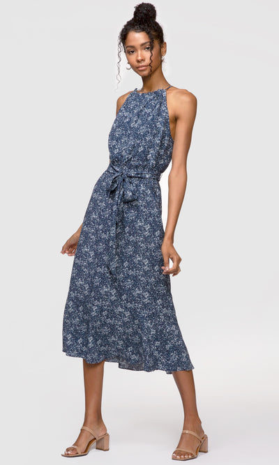 Women's navy tie-waist halter midi dress