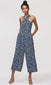 womens blue halter jumpsuit