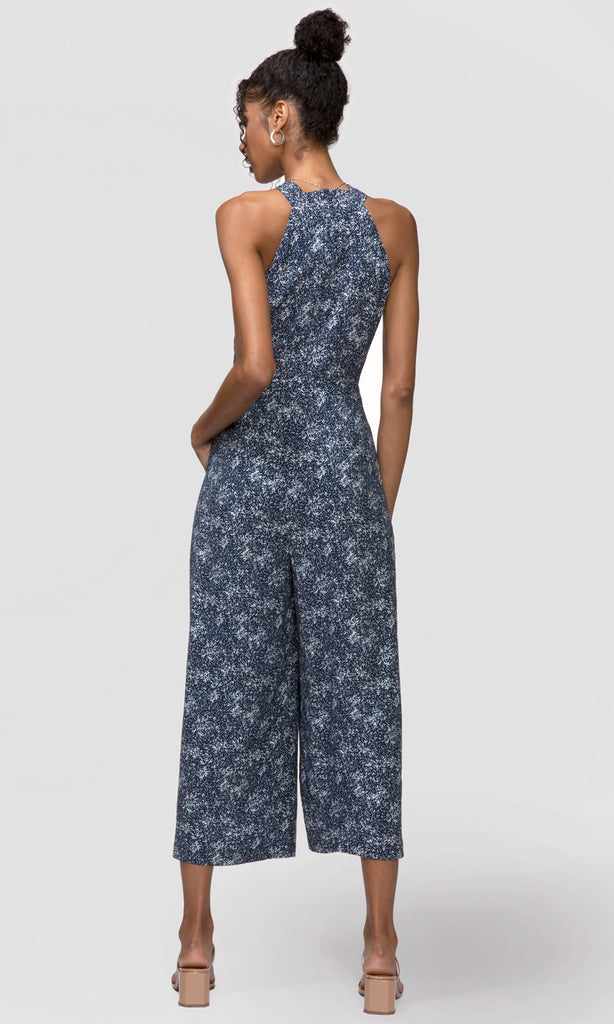 blue halter jumpsuit floral and flowy