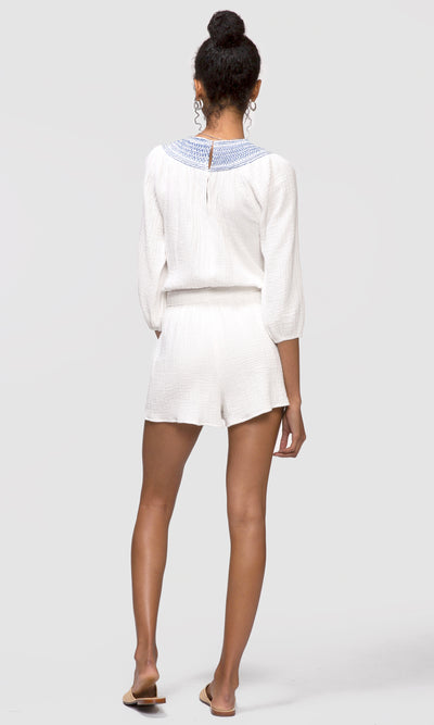 Mandy Smock Neck Split-Neck Romper