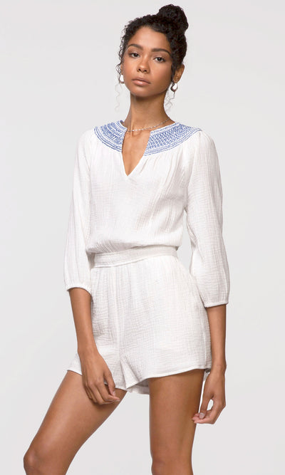 white split-neck romper