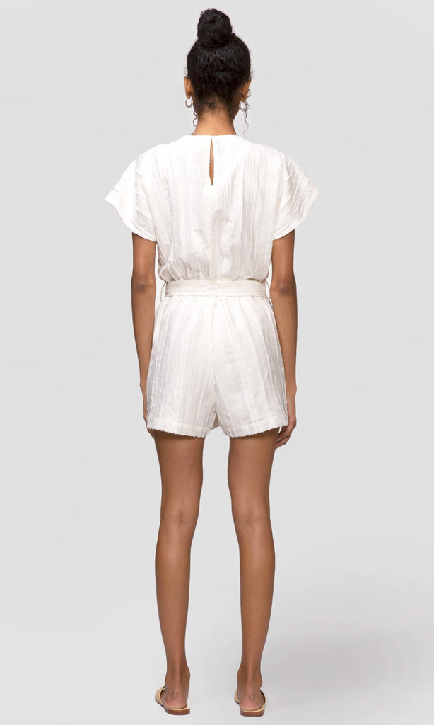women's white textured stripe romper