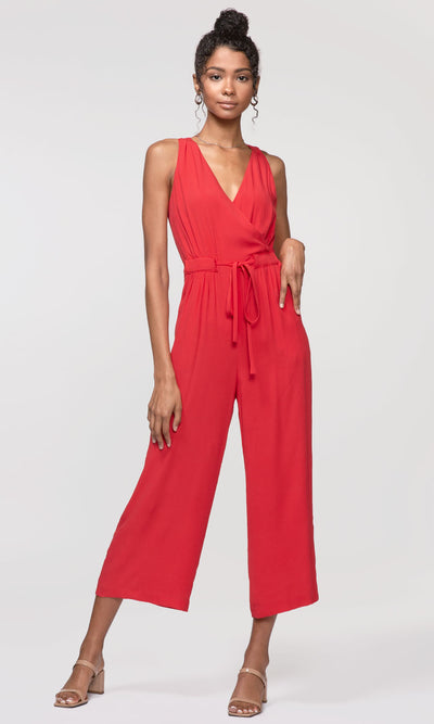 red tie-waist jumpsuit