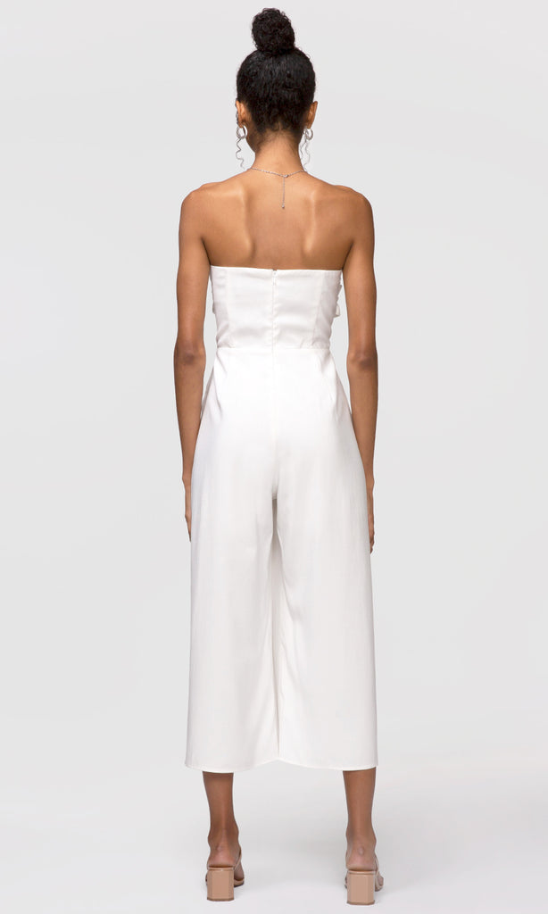 white bow-tie jumpsuit