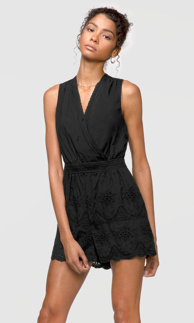 black embroidered wrap-over romper