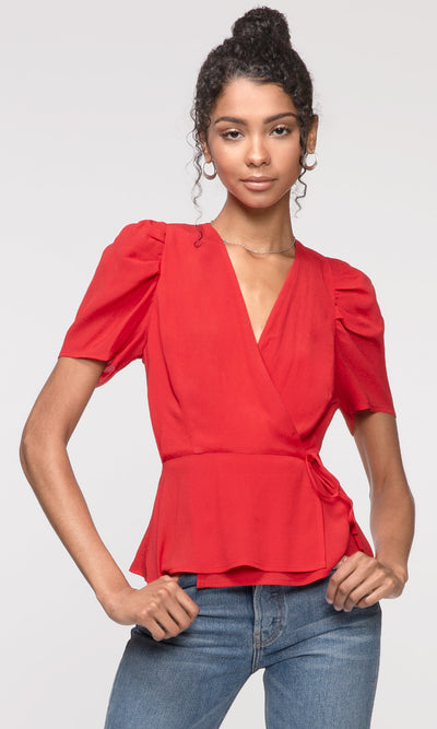 red pouf sleeve wrap top