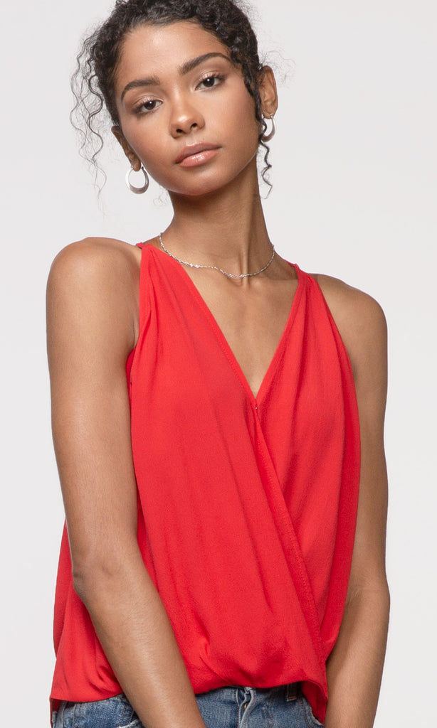 red wrap over cami