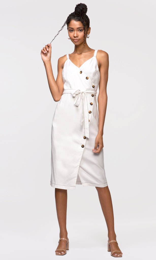 white sleeveless tie waist midi dress