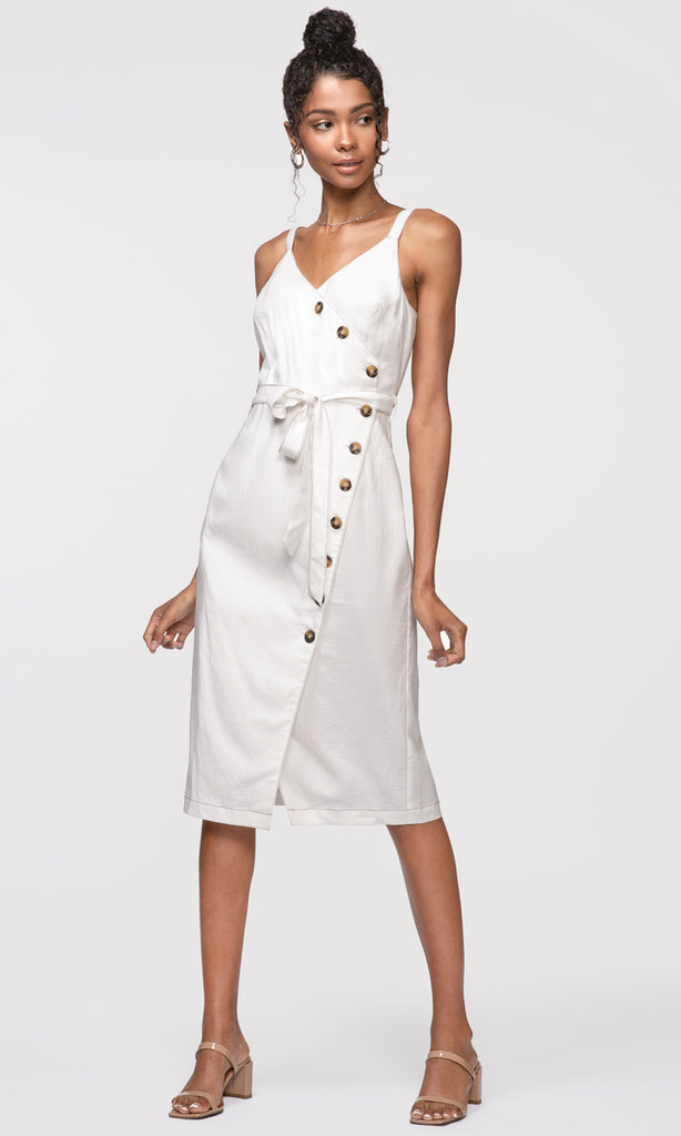 women's white side button dress