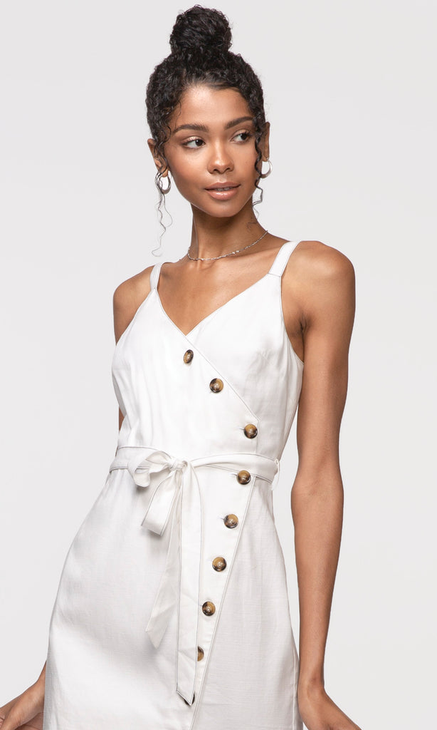 white tie waist button front dress