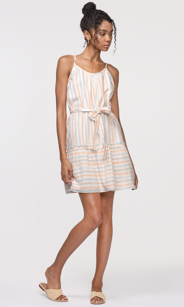 striped white summer dress