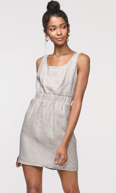 women's grey linen sleeveless dress