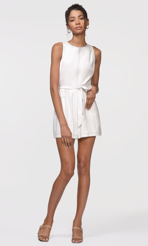 white tie waist sleeveless romper