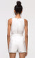 women's white contrast stitch romper