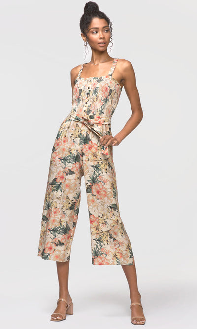 women's tropical print jumpsuit