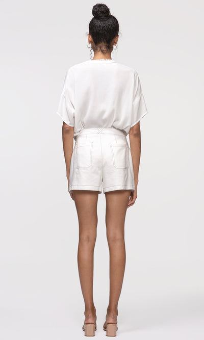 women's white high waist shorts