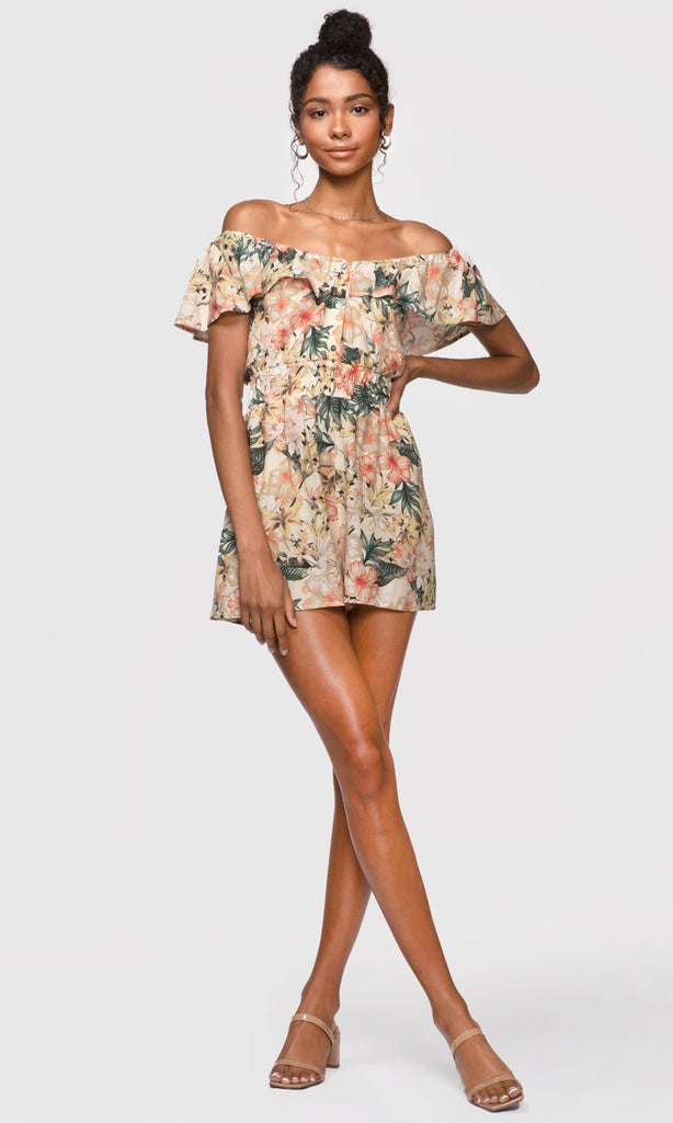 tropical print button front romper